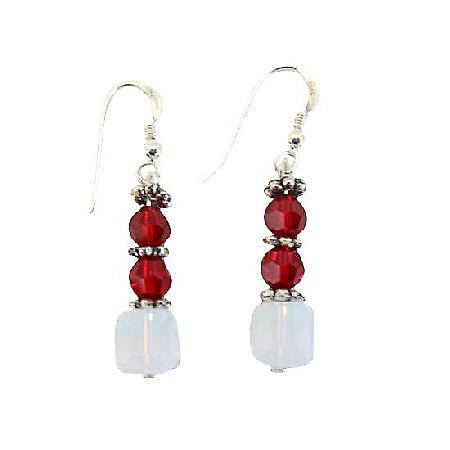 Siam Red & White Opal Swarovski Crystals Bali Silver Sterling Earrings