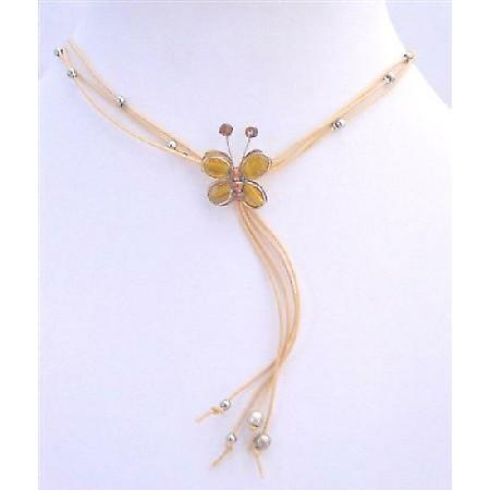 Topaz Color Butterfly Butterfly Necklace Beautiful Tassel Necklace