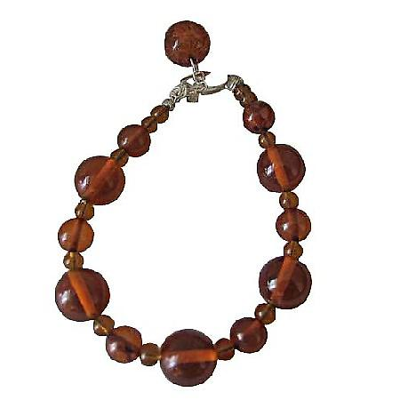 Amber Resin Beaded Bracelet w/ Toggle Clasp