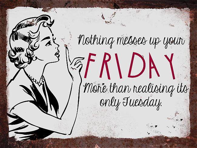 Vintage Metal Wall Sign - Messes up your Friday