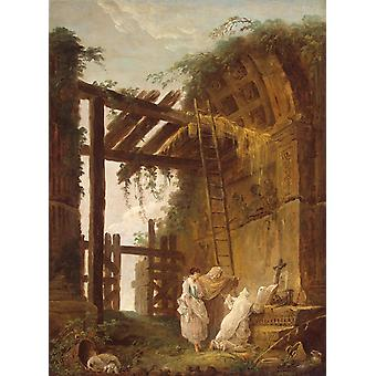 At the Hermit s,Hubert Robert,50x37cm