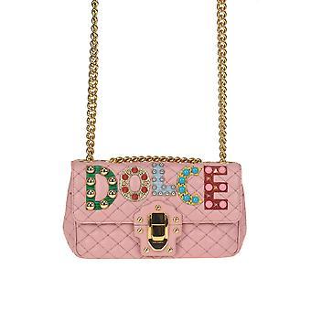 Dolce E Gabbana Lucia Pink Leather Shoulder Bag
