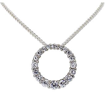 Toc Sterling Silver Round Pendant with Cz on 18 Inch Chain