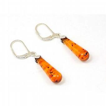 The Olivia Collection Sterling Silver Orange Amber Drop Earrings