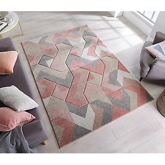 Hand Carved AURORA Dusky Pink  Rectangle Rugs Modern Rugs