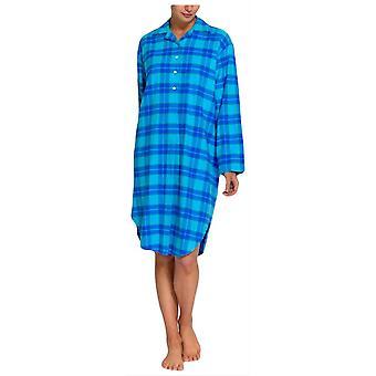 British Boxers tartán Two Fold franela nightshirt-Aqua Blue