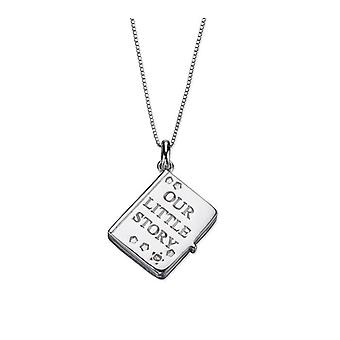D For Diamond Silver Story Book Locket #p4421