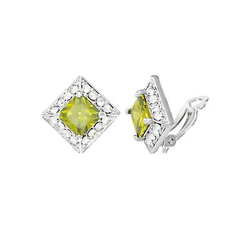 Eternal Collection Splendour Peridot Crystal & Diamante Silver Tone Stud Clip On Earrings
