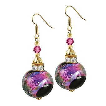 Eternal Collection Focale Magenta Murano Dichroic Glass Gold Tone Drop Pierced Earrings