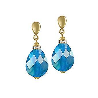 Ewige Sammlung Infinity Aqua Blau AB Glas marmoriert Gold-Ton-Drop-Clip auf Ohrringe
