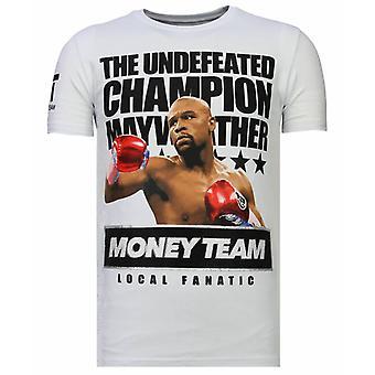 Money Team Champ-Rhinestone T-shirt-White
