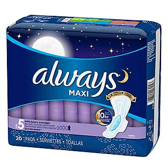 Always maxi extra heavy overnight pads with wings, size 5, 20 ea