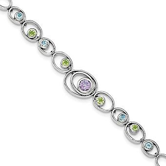925 Sterling Silver Rhodium-plated With Peridot Blue Topaz and Amethyst Bracelet - 1.57 cwt