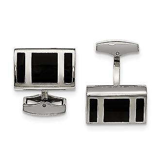 Stainless Steel Polished Black Rubber Rectangle Cuff Links