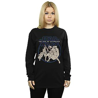 Star Wars The Rise Of Skywalker Rey And Kylo Combat Long Sleeved T-Shirt Women's Boyfriend Fit