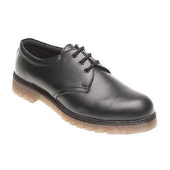 Toesavers Black Leather Safety Shoe AC02 with Aircushioned PVC Sole