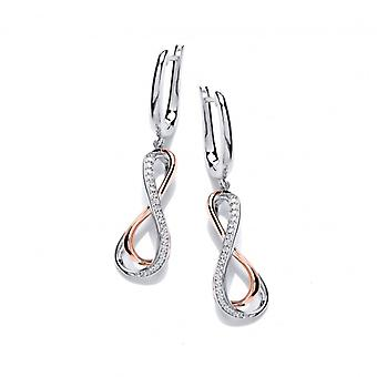 Cavendish French CZ, Rose Gold and Silver Infinity Earrings
