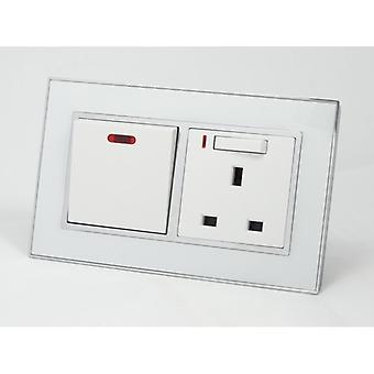 I LumoS AS Luxury White Mirror Glass Double 20A Switch with Switched Neon 13A UK Socket