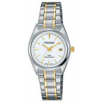 Pulsar Womens Two Tone Stainless Steel White Dial PH7441X1 Watch