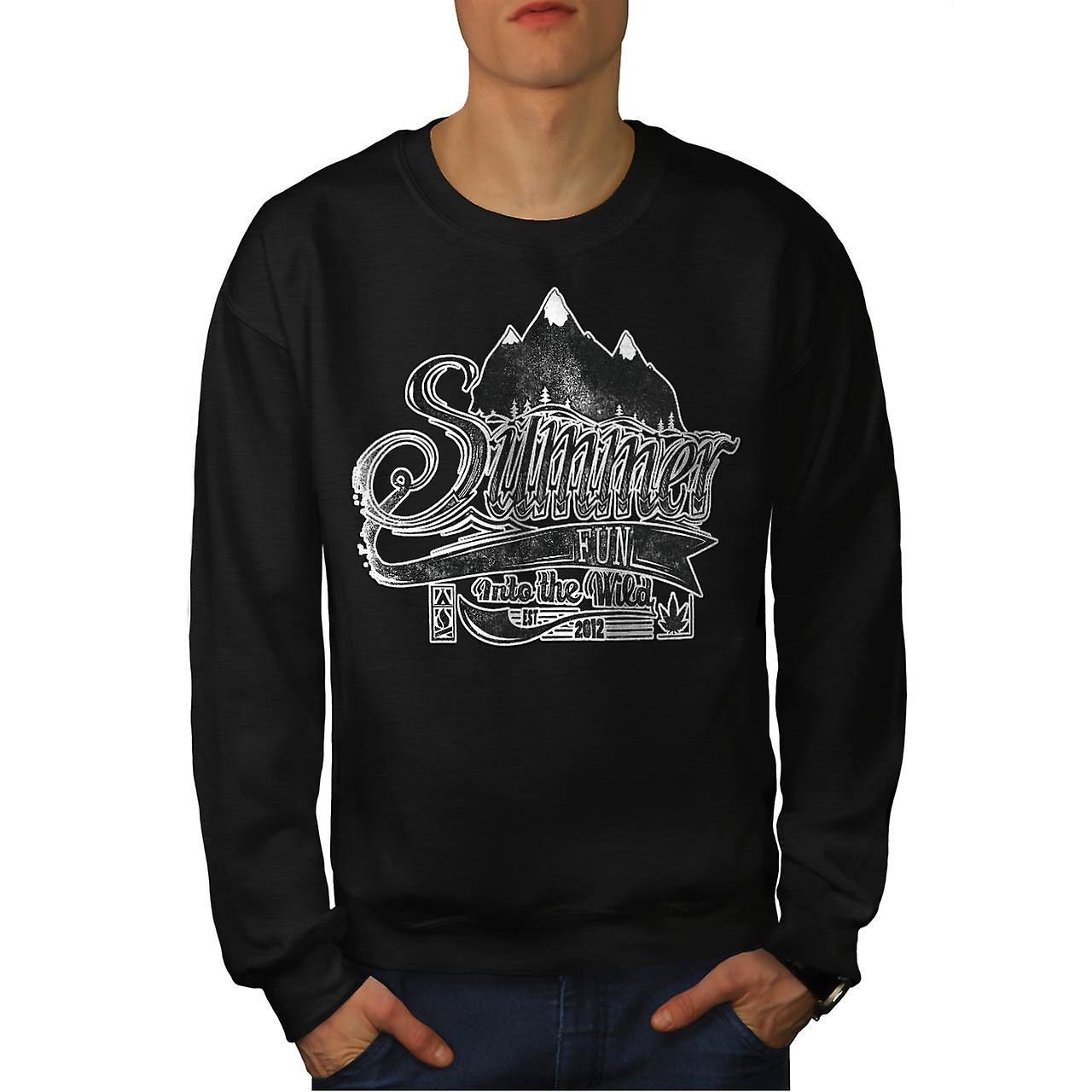 Summer Fun Into Wild Camping Kit Men Black Sweatshirt | Wellcoda