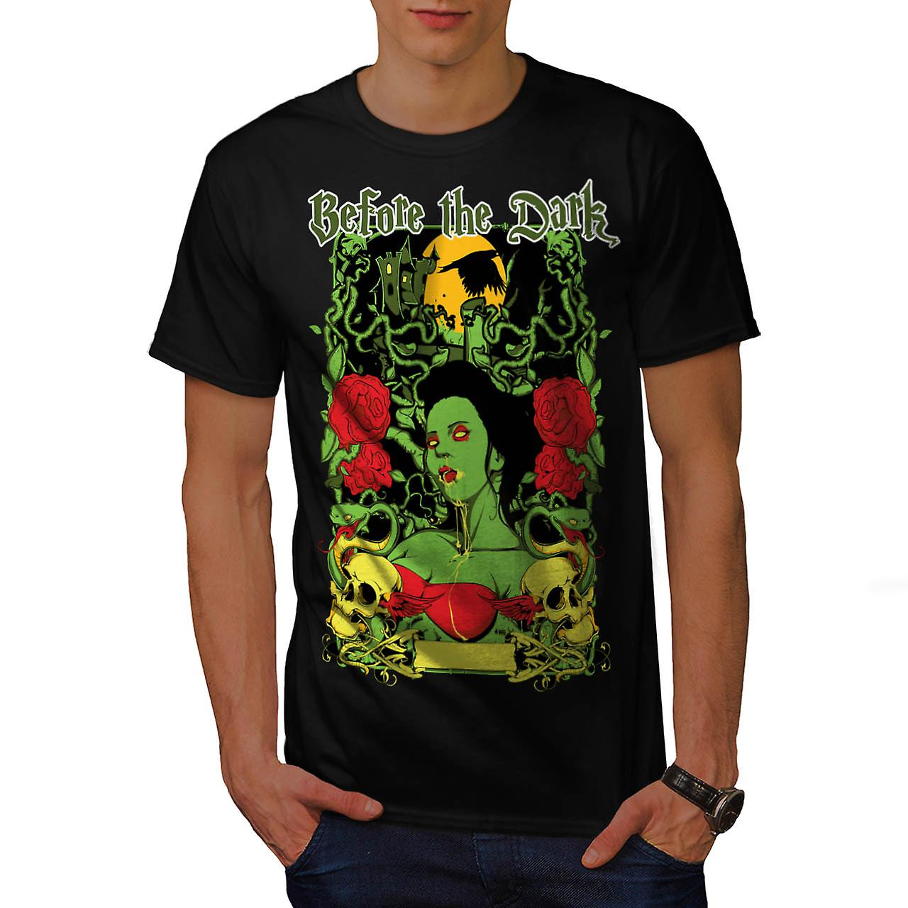 Before Dark Vampire Zombie Girl Men Black T-shirt | Wellcoda