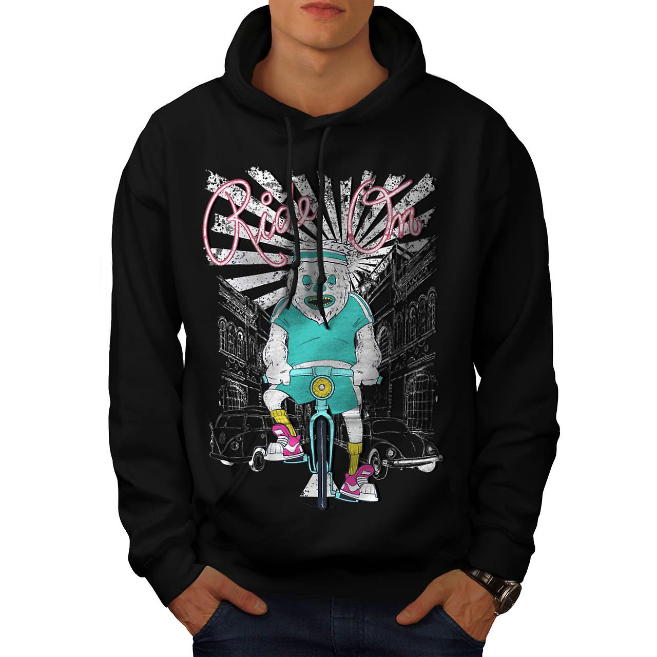 Ride On Monster Bike Cycle City Men Black Hoodie | Wellcoda