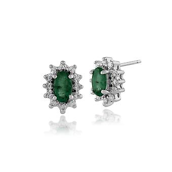 9ct White Gold 0.46ct Emerald & Diamond Classic Cluster Stud Earrings