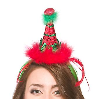 Adults Red & Green Elf Hat On Headband Christmas Accessory