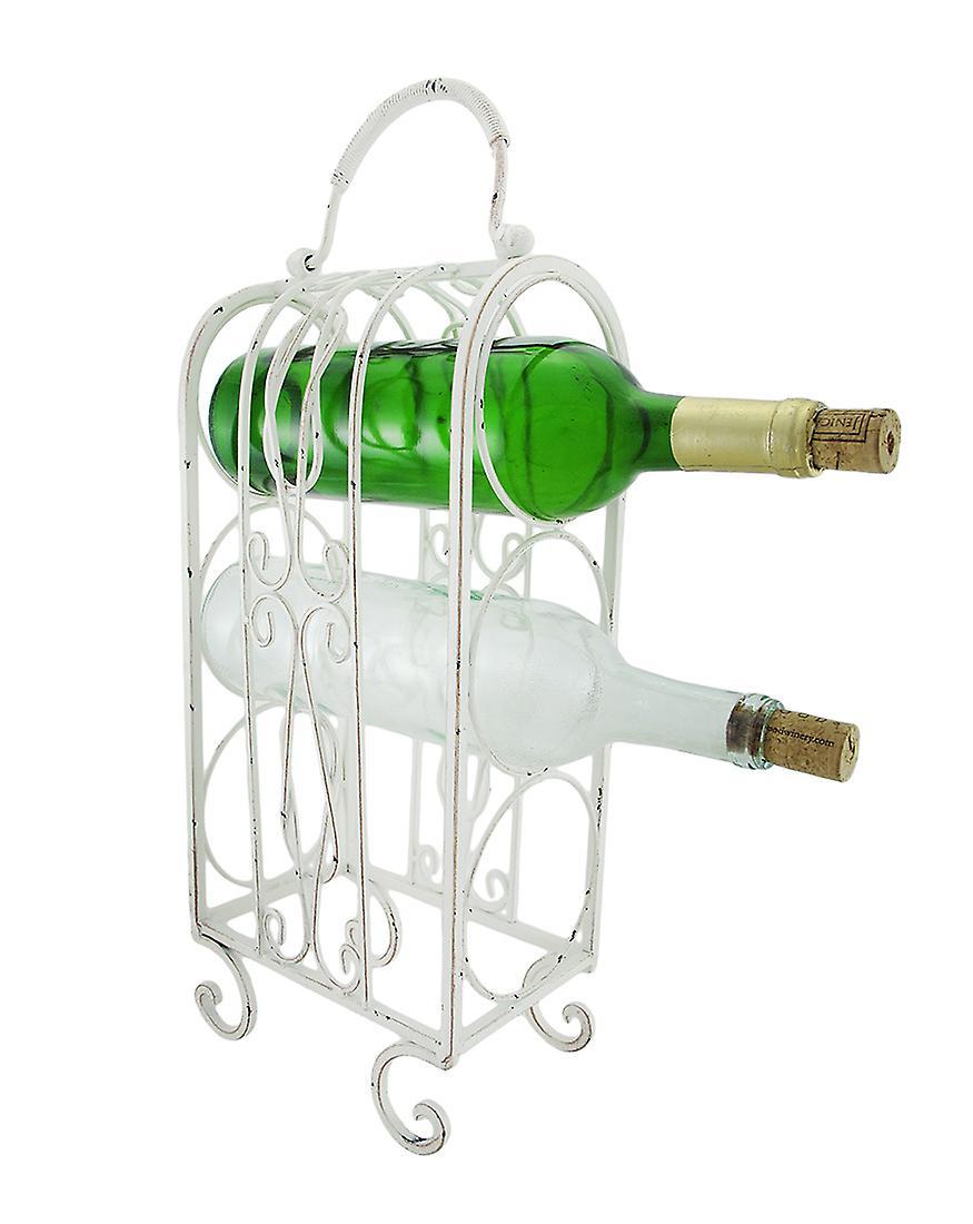 Decorative White Metal Tabletop Wine Rack Fruugo
