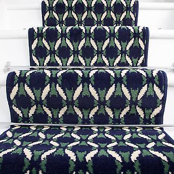 50cm Width - Navy Blue  Green & White Mosiac Stair Carpet