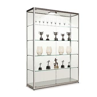 Silver Glass Display Cabinet with 1 LED Light - 1200mm