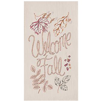 Welcome Fall Embroidered Leaves Kitchen Flour Sack Dish Towel