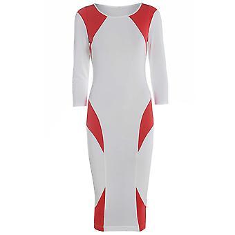 الأحمر على كتلة بيضاء اللون فستان بوديكون DR725-8