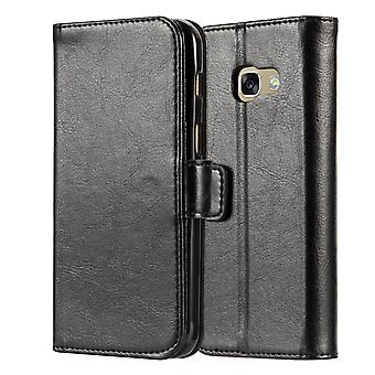 Samsung Galaxy A3 (2017) Real Leather ID Wallet Case Black