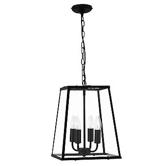 Searchlight 5614BK Voyager 4 Light Tapered Ceiling Pendant Light In Matt Black With Clear Glass