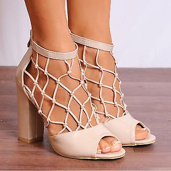 Koi Couture Nude Lace Heels - Ladies Db68 Nude Patent Ankle Strap Caged Peep Toes Strappy Sandals High Heels