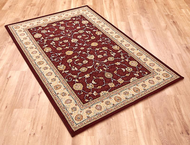 Noble Art 6529-391 Deep red centre with ivory border and viscose accents Rectangle Rugs Traditional Rugs