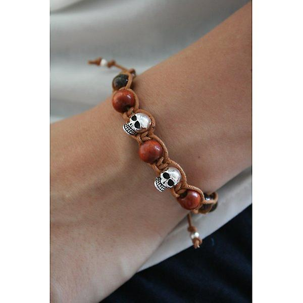W.A.T 925 Sterling Silver Skull And Wood Bead Macrame Bracelet