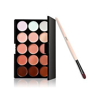 Boolavard Foundation børste + 15 farver ansigt kontur creme Concealer Camouflage palet