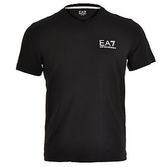 EA7 Emporio Armani Train Core ID Logo V-Neck T-Shirt, Black, Medium
