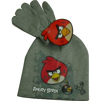 Boys Angry Birds 2 Piece Set Beanie Hat & Gloves