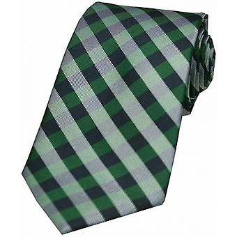 David Van Hagen Checked Silk Tie - Green
