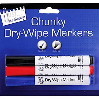 Just Stationery Chunky Dry-Wipe Board Markers (Pack Of 3)
