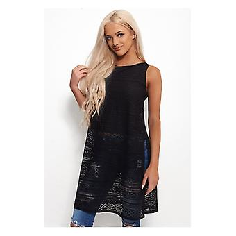 The Fashion Bible Oversized Side Split Black Lace Top