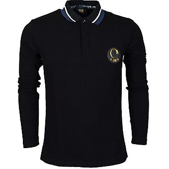 Cavalli Class Jersey Cotton Black Long Sleeve Polo