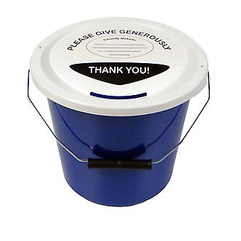 6 Charity Money Collection Buckets 5 Litres - Blue