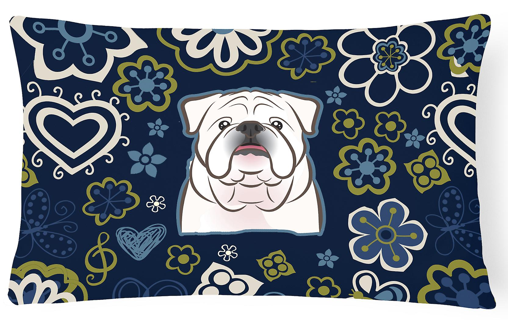 Bleus Oreiller Tissu Blanc Décoratif Fleurs Anglais Toile Bulldog hrCtsxQd