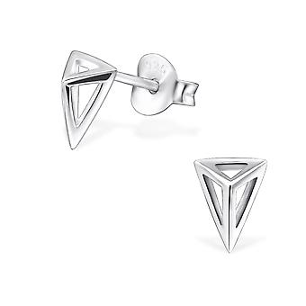 Triangle - 925 Sterling Silver Plain Ear Studs - W29609x