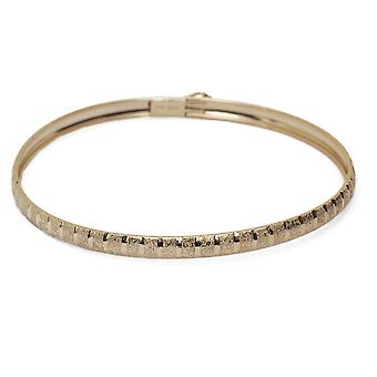 Floreo Floreo 10k gult gull bangle armbånd fleksibel runde med diamant Cut Design (0,16