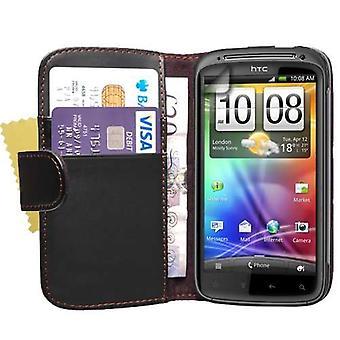 Yousave accesorios HTC sensación efecto cuero Flip Case - negro
